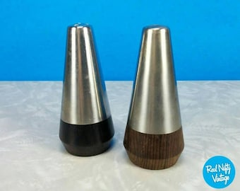 Vintage Mid-Century Stainless Steel and Wood Salt and Pepper Shakers - Retro 60's Dining