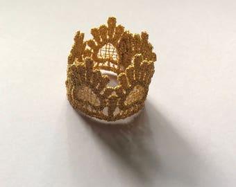 ELASTICLESS Gold crown- newborn prop- newborn crown- crown prop- gold lace- gold lace crown- newborn photography