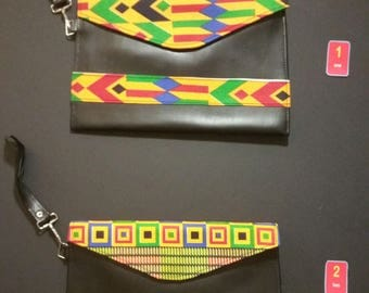 Black Leather-Look African Fabric (Ankara) Clutch Bag With Detachable Strap