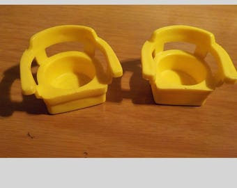2 Fisher Price Little People Yellow Arm Chairs
