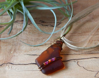 Glass Bottle Jewelry, Brown Glass Pendant, Wire Wrapped Necklace, Recycled Glass, Eco Friendly Necklace for Women, Unique OOAK