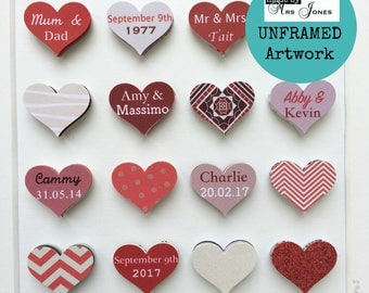 40th Wedding Anniversary gift - 16 small hearts - ruby wedding gift - 40 years - personalised artwork - unframed - paper heart art
