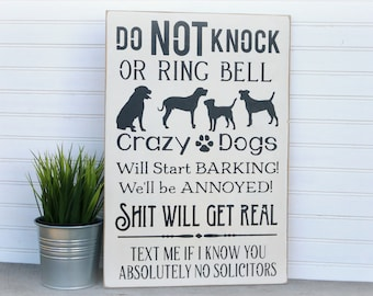 Crazy Dog Sign, Crazy Dogs Do Not Knock, Dog Signs For Home, Door Sign