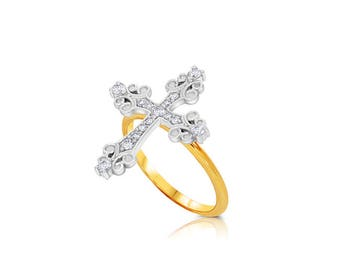 14k solid two tone gold diamond cross ring.