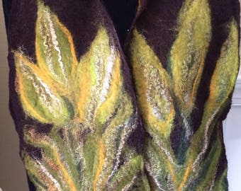 Felted wool scarf, nuno felted scarf, fall colors scarf