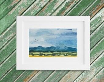 Irish Landscape Painting - Original Small Watercolor Painting - Stormy Gray Sky Ireland 13 x 10