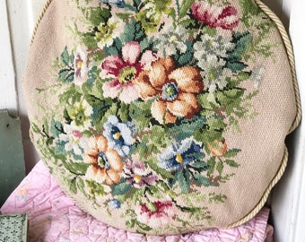 A stunning vintage woolen needlepoint cushion cover