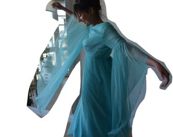 Huge sweeping sleeves vintage chiffon 60's dress in aqua xs-sm
