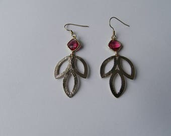 Triple gold plated leaf and red glass earrings