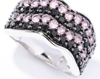Platinum o/ Silver 2.30ctw Black Spinel Band Ring, Size 7