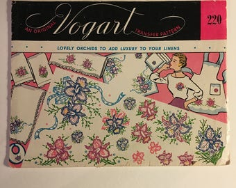 Vintage Vogart Orchid Transfers, 1950s Unused Orchid Hot Iron Transfers