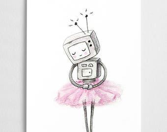 SALE! Ballerina robot art print, cute illustration, nursery wall decoration // Ballerinabot
