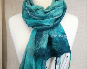Green, Teal, Aqua nuno felted scarf