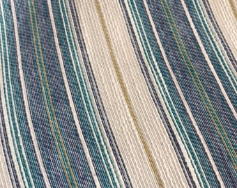 French Blue, Teal, and Natural Striped Woven Cotten Blend
