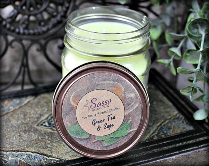 GREEN TEA & SAGE | Mason Jar Candle | Sassy Kandle Co.