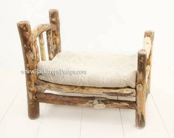 Log bed newborn photography prop log bed  *READY TO ship from USA* !  hand made bed photography prop bed, wooden bed, baby prop, photo props