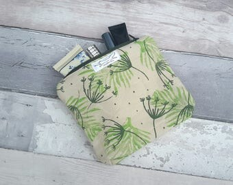 Cosmetic, make up, handprinted purse, green, botanicals, nature, plants, organic cotton, wallet, pouch