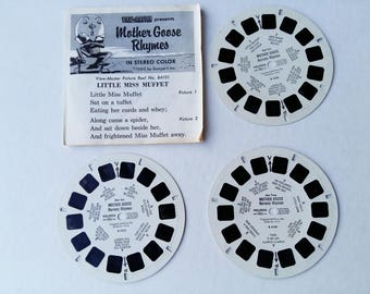 Mother Goose Rythmes Viewmaster reel / slide, 3 in set, ORIGINAL PACKAGE, vintage, Sawyer, toy, Little Miss Muffet