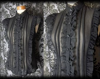 Gothic Black Sheer Frilled VICTORIAN GOVERNESS High Neck Blouse 16 18 Steampunk