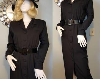 1940s 40s gabardine style wiggle dress film noir 90s does 40s M L