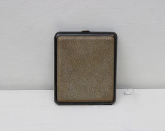 Vintage green  leather cigarette case from  the 1970s
