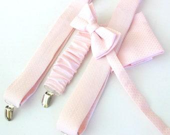 Suspender with bow tie + hanky pastel-pink