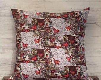 Cardinal Throw Pillow - Christmas cardinal Pillow - Cardinal Christmas Pillow - cardinal decorations - red cardinal - cardinal decor