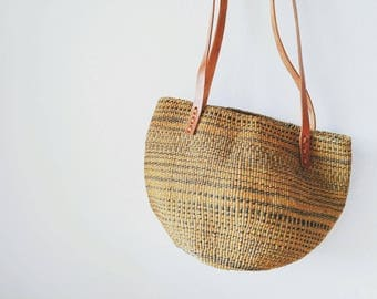 Minimalist Market Basket Bag with Leather Straps