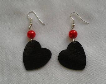 Heart Earrings in genuine leather