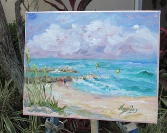Oil painting beach ocean clouds and sky rocks or jetties on a beautiful summer day