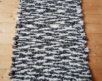 Hand-woven rug, Black gray white rug, Colorful Rug,  Woven Rug, striped rug, warm rugs, thick hand-woven rug, white  black rug, black rug 3