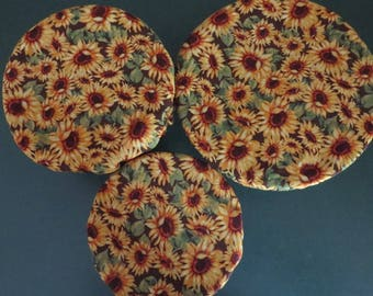 Reusable Bowl Covers, Elastic Bowl Covers, Eco Friendly Lids, Sunflower Decor