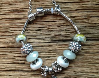Rainbow trout beaded bracelet: silver, green, and pearl trout bracelet, fly fishing jewelry, brown trout bracelet, trout jewelry, fishing