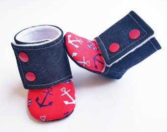 Baby Booties, Nautical Baby Gift, Baby Stay-on Booties, Denim Stay-on Boot, Baby Boy Booties, Denim Nautical Baby Booties, Anchor Baby Boots
