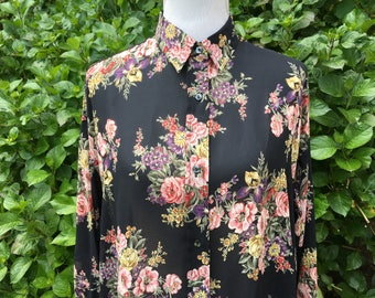 90's Floral Blouse // Tunic // Medium // Large // Baggy // Oversized // Black