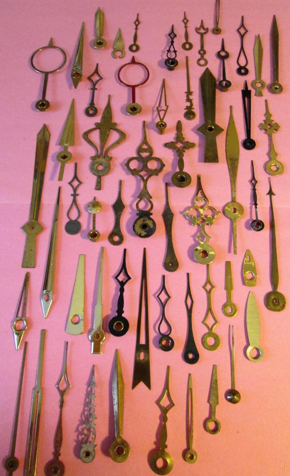 54 Assorted Antique and Vintage Brass Clock Hands for your Clock Projects, Jewelry Making, Steampunk Art, Crafts & Etc....