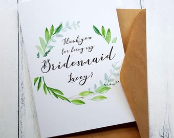 Will you be my Bridesmaid Card | Thank you for being my Bridesmaid Card | Will you be my Maid of Honour Card | Card for Bridesmaid
