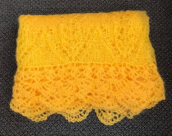 Yellow Shawl knitted extra long mohair shawl, two shades of yellow, warm, lace pattern for summer nights