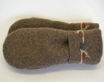Wool Felted Sweater Mittens / BROWN SWEATER MITTENS / Wool Mittens / Lined With Fleece / Handmade