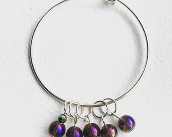 Iridescent Purple Stitch Markers for Knitting