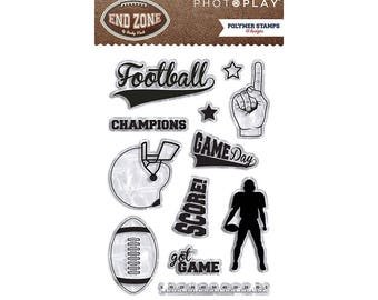 Photo Play END ZONE Football Theme Clear Polymer Stamps Set