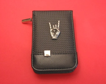 Rock On Black Faux Carbon Fibre Manicure Set Beauty Travel Kit Rock Music Heavy Metal Christmas Gift