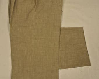 St. Croix Tan Italian Worsted Wool/Linen Blend Dress Pleat Trousers Men's Size: 42x27