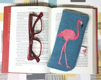 Flamingo glasses case - pink flamingo - spectacles case - sunglasses case - Harris Tweed glasses case - blue case - embroidered flamingo