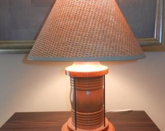 Wooden Desk or Table Lamp with a Burlap Like UNO Shade - Nautical Look