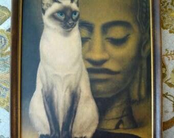 Vintage 1965 Art Print SIAMESE CAT Girard Goodenow Gig Big Eyes