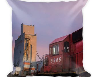 Square Pillow - Red Silo Original Art - Canadian Pacific Elevator