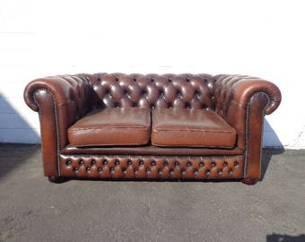 Chesterfield Sofa Vintage Leather English Couch Loveseat Sleeper Bed Vintage  Rustic Lounge Settee Rolled Arm Tufted