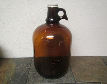 Brown A & W Rootbeer 1 gallon jug , Root Beer Glass jug , A and W cover #1