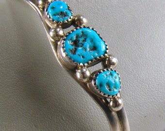 "Pat Yazzie Signed Navajo Sterling Morceni Turquoise Southwest Cuff Bracelet ~ 5 1/4"" Interior Measurement"